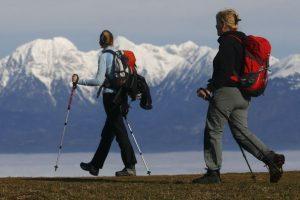 hiking on trail