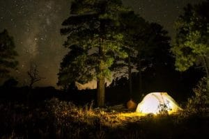 night camping with family