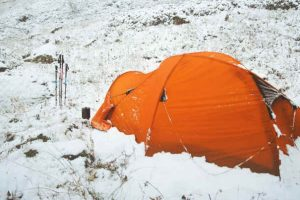 winter camping in snow